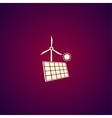 solar panel icon and wind turbine icon vector image vector image