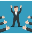 Successful businessman acknowledging many thumbs vector image vector image