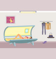 tanning poster with woman lying in indoor tan case vector image