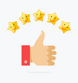 thumb up and five stars smile vector image vector image