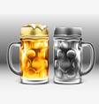traditional glass of beer with droplets of vector image vector image
