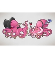Two cartoon octopuses in retro costumes vector image vector image