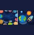two space background with planets and rocket vector image