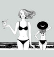 two women in bathing suit on sea beach vector image