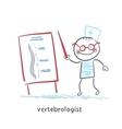 vertebrologist tells a presentation on the spine vector image