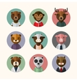 Flat design style animal avatar icon set vector image