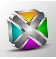 3d logo with colored section vector image