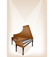 A Retro Harpsichord on Brown Stage Background vector image vector image