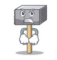 angry wooden meat hammer cartoon for kitchen vector image vector image