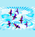 birds on a sky background with clouds and rays vector image vector image