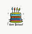 birthday cake postcard for your design vector image vector image