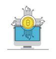 bitcoin digital currency and desktop computer vector image vector image