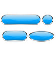 blue glass buttons set 3d oval shiny icons vector image vector image