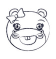 blurred silhouette face of female hippo animal vector image vector image