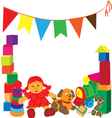 bright frame with toys vector image vector image