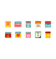 calendar icon set flat style vector image