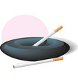 ceramic ashtray with cigarettes in vector image vector image