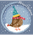 christmas card with dressed bird vector image vector image