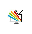 colorful screen television logo vector image