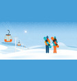 couple snowboarders standing with snowboards vector image vector image