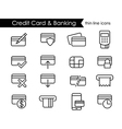 Credit card and e-commerce thin line icon set vector image vector image