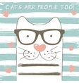 Cute cat with glasses vector image