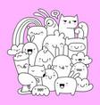 cute doodle creatures vector image vector image