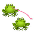 cute green frog with long pink tongue isolated on vector image