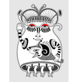 cute ornate doodle fantasy monster personage vector image