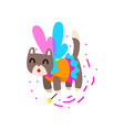 cute winged cat with a magic wand fantasy fairy vector image vector image