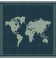 Dotted world map over blueprint background vector image vector image
