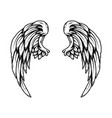 eagle wings in tattoo style isolated on white vector image vector image