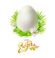 easter egg with grass on white vector image vector image