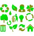 eco icon set green vector image