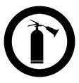 fire extinguisher icon black color in circle vector image vector image