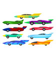 flat set of colorful racing cars vintage vector image
