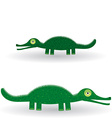 Funny green crocodile on a white background vector image vector image