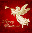 golden christmas angel with trumpet vector image vector image
