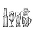 graphic glasses of beer vector image vector image