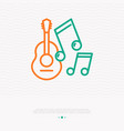 guitar with notes line icon vector image