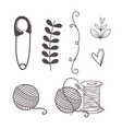 hand made sewing set icons vector image vector image