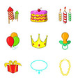infant party icons set cartoon style vector image vector image