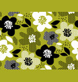 leaves and flowers monochrome pattern vector image vector image