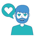 man with love heart in speech bubble vector image vector image