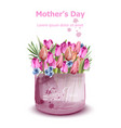 mothers day tulips card watercolor holiday fresh vector image vector image