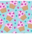 Muffins cupcakes seamless pattern Delicious Cake vector image