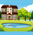 old brick house with lawn and pond vector image vector image