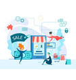 people make purchases and pay using mobile app vector image vector image
