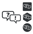 Question answer icon set monochrome vector image vector image