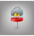 Red pin icon weather Rain cloud lightning vector image vector image